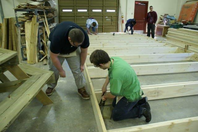 students working with wood